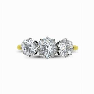 3 Stone Old Cut Diamond Ring 1.50ct Approx